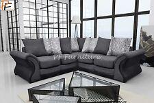 Divano Brand New Fabric Corner Sofa Living Room Suite Black/grey