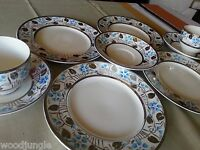 9 pc Antique EMPIRE POTTERY ENGLAND BLUE FLOWERS PLATINUM PLATES CUP  SAUCERS