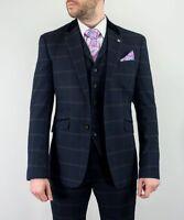 Mens Cavani Connal Navy 3 Piece Check Tweed Suits  Regular Fit Peaky Blinders