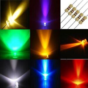 Diodi LED alta luminosità 3 e 5 mm con RESISTENZE BIANCO ROSSO VERDE BLU...