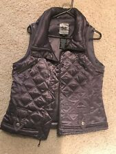 Harley Davidson Womens Medium Quilted  Vest Jacket Gray
