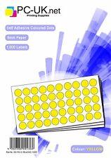 Etiqueta engomada de color amarillo brillante Puntos Autoadhesivas 8mm Paquete de 1000 manchas redondas círculos