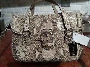 Coach beige leather handbag in reptile print