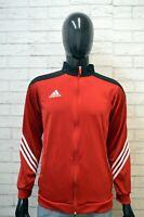 Felpa Uomo ADIDAS Taglia S Maglione Sweater Cardigan Casual Pullover Rossa Man