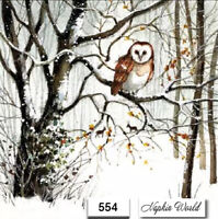 (554) TWO Individual Paper Luncheon Decoupage Napkins - WINTER, OWL, FOREST