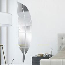 Selbstklebend Spiegel Wandufkleber 3D Feder Wandsticker Wandtattoo Zimmer Deko