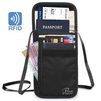 Passport Holder, Travel Wallet Neck Pouch/Purse, Small Messenger RFID Blocking