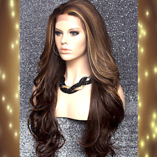 Human Hair Blend Long Full Lace Front Wig Wavy Brown blonde mix Heat OK 8/27/613