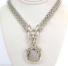 "David Yurman X Large Diamond Enhancer & 18"" Diamond Logo Necklace Set $4260"