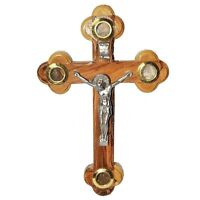 Wall Cross with Crucifix and Vessels with Holy Soil from Jerusalem 17 cm/7 inch