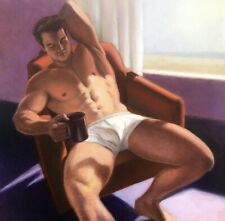 "Original Artwork by Robert Moler: COFFEE BREAK, 20"" X 20"" oil on canvas, 2020"