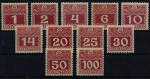 1908/13 PORTO ANK 34-44z, GEW.Papier! Satz, postfrisch ** Kat:500,-€ VÖB