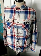 SUPERDRY Red Cream Red Blue Large Check Designer Long-Sleeved Shirt Size XXL s/f