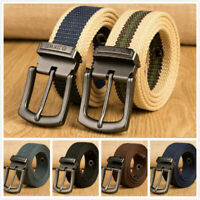 Men Women Adjustable Casual Canvas Braided Belts Metal Pin Buckle Waistband