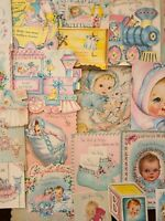 27 Vtg Baby Greeting cards NEW BABY Congrats pink/blue/Scrapbook craft lot C,50s