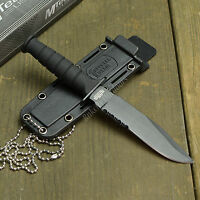 """MTECH 6"""" Tactical Survival Fixed Blade Neck Knife With Kydex Sheath Black New!"""