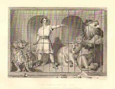 Van Amburgh And The Lions, by Landseer, Tiger, Leopard, 1879 Antique Art, Print,