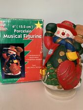 "Snowman Porcelain Figurine With Music Christmas ""Jolly Old St. Nicholas�"
