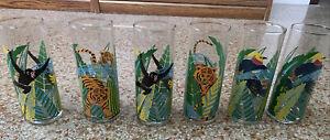 Vintage Signed Panache Jungle Glasses Tom Collins Highball Tea Tumblers Set 6