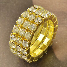 9K Yellow Gold Filled Much Row Cubic Zirconia Womens Ring 7 Adjustment F50294