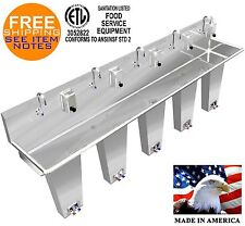 """Wash Up Hand Sink 5 Person 108"""" Pedal Valve Columns 2 Welded Drains Made In Usa"""