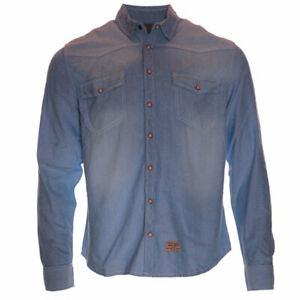 Mens Jacksouth Denim Shirt Long Sleeve Chest Pocket Contrast Cotton Snap Button