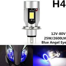 H4 9003 HB2 LED Motorcycle Headlight Hi/Lo Beam Bulb 6000K Blue Angel Eye 12-80V