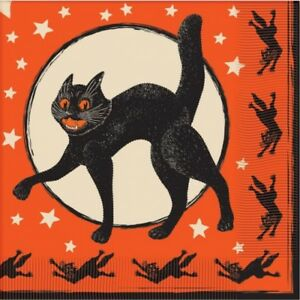 Vintage Black Cat Halloween Lunch Napkins Paper 12 Pack Halloween Tableware