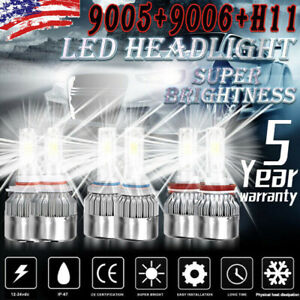 9005+9006+H11 LED Headlight Hi/Low Beam Bulb 6500K 7000W 980000LM Fog Light Set