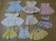 ANTIQUE & VINTAGE LOT of 9 DRESSES for COMPOSITION & HARD PLASTIC BABY ERA Dolls