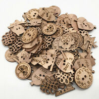 50pcs OWL Buttons Wooden Cardmaking Hanging Ornament Embellishment Sewing Craft