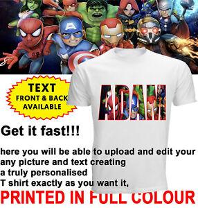 Personalisiertes Eigener Name Marvel Avengers Bedruckt Party KIDS Dtg