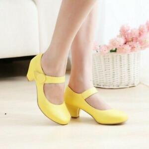 Mary Janes Shoes Women Ankle Strap Candy Color Sweet Girls Round Toe Block Pumps