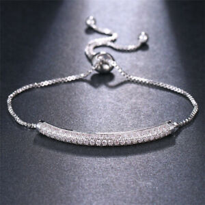 Womens White Gold Plated Adjustable Bracelet with Cubic Zirconia, Italy style CZ