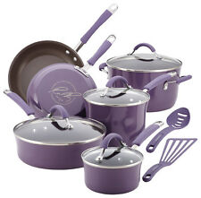 Rachael Ray - Cucina 12-Piece Cookware Set - Espresso/Lavender Purple