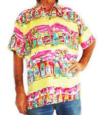 """Loud Hawaiian Hombre Camisa con Tropical BOTELLAS DE CERVEZA XXXXXL 62 """", NUEVO,"""