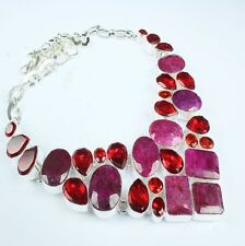 "Handmade Cherry Ruby Natural Gemstone 925 Sterling Silver Necklace 17.5"" #H00075"