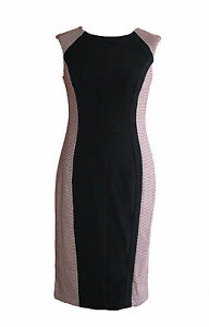 Brand New Ladies Black Office Wear Dress with Red dogtooth pattern SIZES 8-18