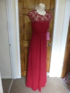 Pretty dark red chiffon lace detail evening dress from Babyonline size 14