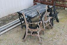Vintage Retro Cast Iron Bench Chair Seat Ends Garden Table Set