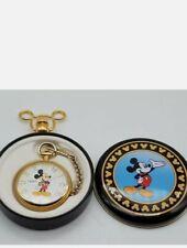 VTG Verichron Disney Mickey Mouse Quartz Pocket Watch-Runs-Original Box