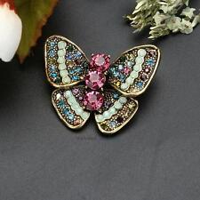 Vintage Wedding Bridal Colorful Rhinestone Crystal Butterfly Broach Brooch Pin