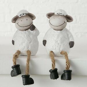 S/2 Cute Terracotta Sheep Farm Yard Animal Shelf Sitting Novelty Ornament Gift