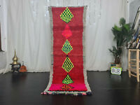 Moroccan Vintage Handmade Runner Rug 2.7x7.7ft Geometric Berber Red Wool Carpet