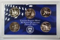 2002 United States State Quarters Proof Set 5 Gem Coins W/ Box and COA