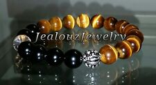 Sterling Silver Dragon AAA Onyx Tiger Eye Gemstone Yoga Stretch Mens Bracelet