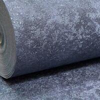 Arthouse Plain Indigo Dark Midnight Blue Metallic Wallpaper Heavyweight Vinyl