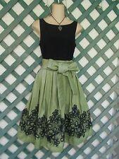 SL FASHIONS BLACK GREEN SEQUINED SATIN CRINOLINE DRESS 6 PROM PARTY WEDDING