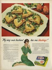 1948 Bird's eye pea recipe  fun food theme Kitchen Nook Decor Vintage PRINT AD
