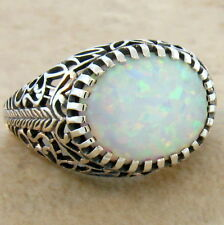 Lab Opal Victorian Antique Design .925 Sterling Silver Ring Size 10, #478
